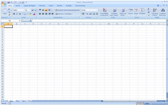 Visão principal do MS Excel.